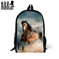 Horse Pattern Design 17 Inch Leisure Backpack Teenager Boys Girls Daily School Bags Men Women Work