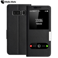 For Samsung Note 8 Case Luxury View Window Genuine Leather Cover Stand Case For Samsung Galaxy