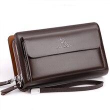 Men Clutch Bag Fashion Leather Long Purse Double Zipper
