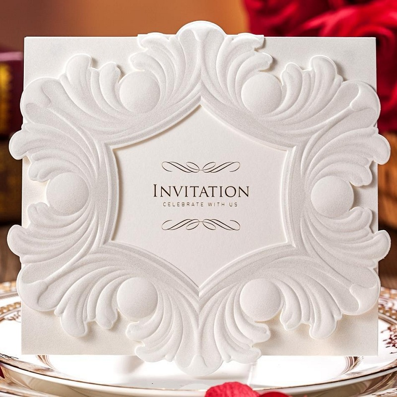12pcslot laser cut embossed flower frame wedding invitations elegant party decoration card with envelopes