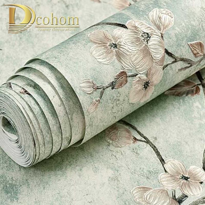 Amerika Pedesaan Vine Bunga Kertas Dinding Dekorasi Rumah Warna Solid Hijau Wallpaper Roll untuk Ruang Tamu Kamar Tidur Dekorasi Mural