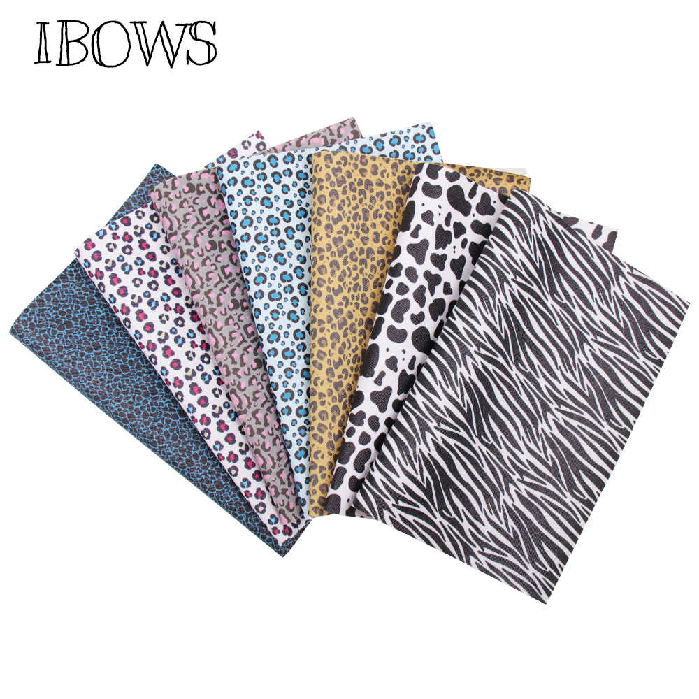 IBOWS 22*30cm Snythetic Leather Cow Leopard Printed Faux Leather Fabric for DIY Hair Bows Accessories Handmade Bags Vinyl Fabric