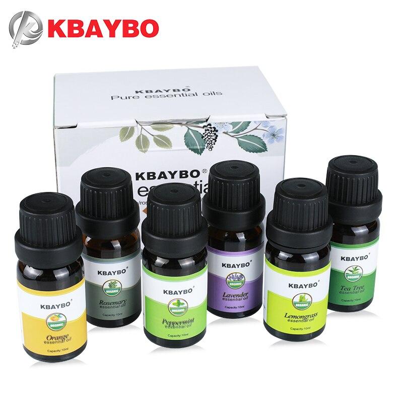 Huiles essentielles Aromathérapie Huile pour arôme Diffuseur Humidificateur 6 Sortes Parfum de Lavande Arbre à Thé Romarin Citronnelle Orange