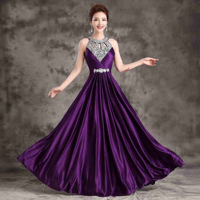Вечернее платье,, длина до пола, сатиновые Сексуальные вечерние платья для выпускного вечера, элегантные длинные вечерние платья - Цвет: purple
