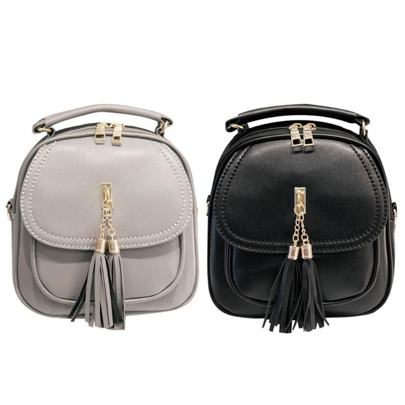 Women Girls Zipper Tassels PU Leather Backpacks Youth Casual Retro School Shoulder Bags Teenage Mini Small Rucksacks Z60