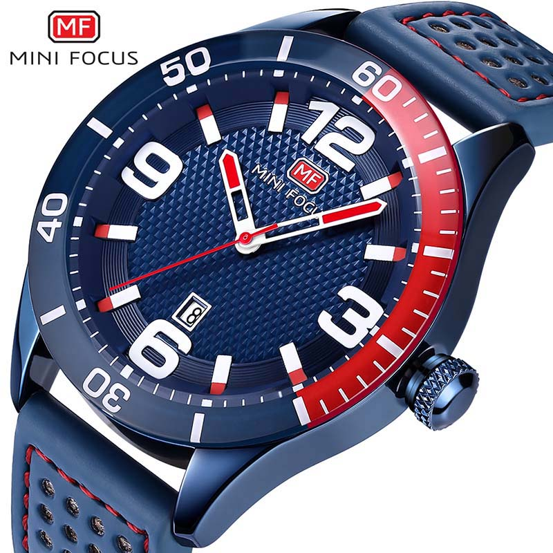 MINI FOCUS Brand Luxury Men Military Sports Watches Men's Quartz Analog Date Clock Male Leather Strap Army Wrist Watch Blue цена