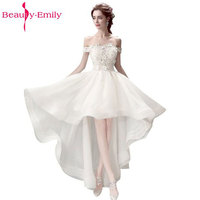 Beauty Emily Lace Appliques Asymmetrical Cocktail Party Prom Dresses 2017 Formal Occasion Party Prom Dresses