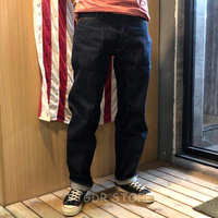 Non Stock 15oz Denim Selvage Men's Jeans Mid Waist Straight Pants Regular Fit RRL Streetwear