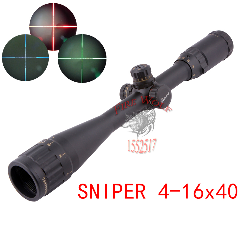 Sniper 4-16X40 Golden Letter Airsoft Air Rifles Professional Outdoor Waterproof Green And Red Reticle Fiber Optics Sight