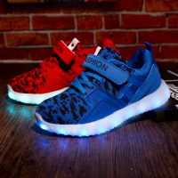 2017 New Children Shoes Boy Lighted Sneakers Shoes Girls LED Sports Shoes Kid Casual Shoes USB