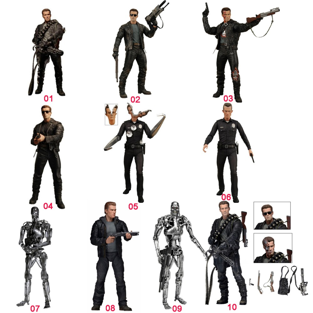 HOT Multi designs NECA Terminator Judgment Day T-800 Endoskeleton Cyberdyne Showdown  Loose NO BOX Free Shipping neca the terminator 2 action figure t 800 endoskeleton classic figure toy 718cm 7styles