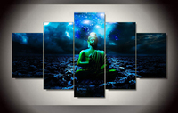 Framed Art Buddha Printed Painting Wall Art Picture Home Decoration Print On Canvas 5 Pcs Set