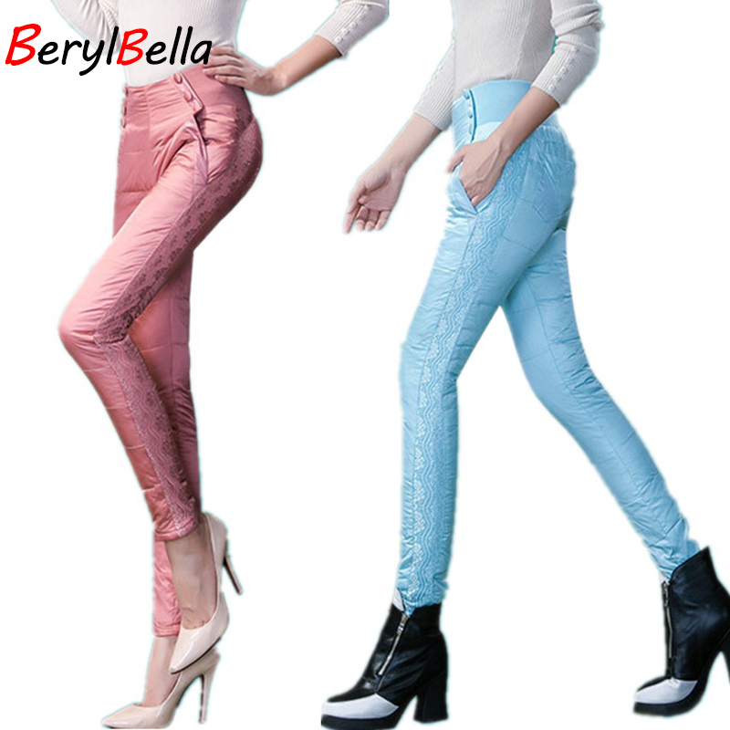 Women Trousers Winter Down Pant 2016 High Waist  Pencil women pants Warm Female Lace Down Trousers Femme Ladies pattern fashion