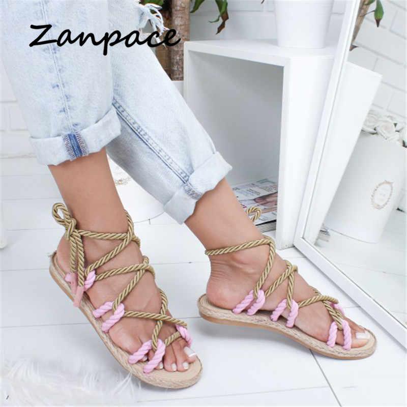 Gladyatör Renk platform sandaletler Büyük Boyutu 35-42 Kadın Ayakkabı 2019 Yeni Bohemia Rahat Kenevir plaj ayakkabısı Kadın Terlik Flip Flop