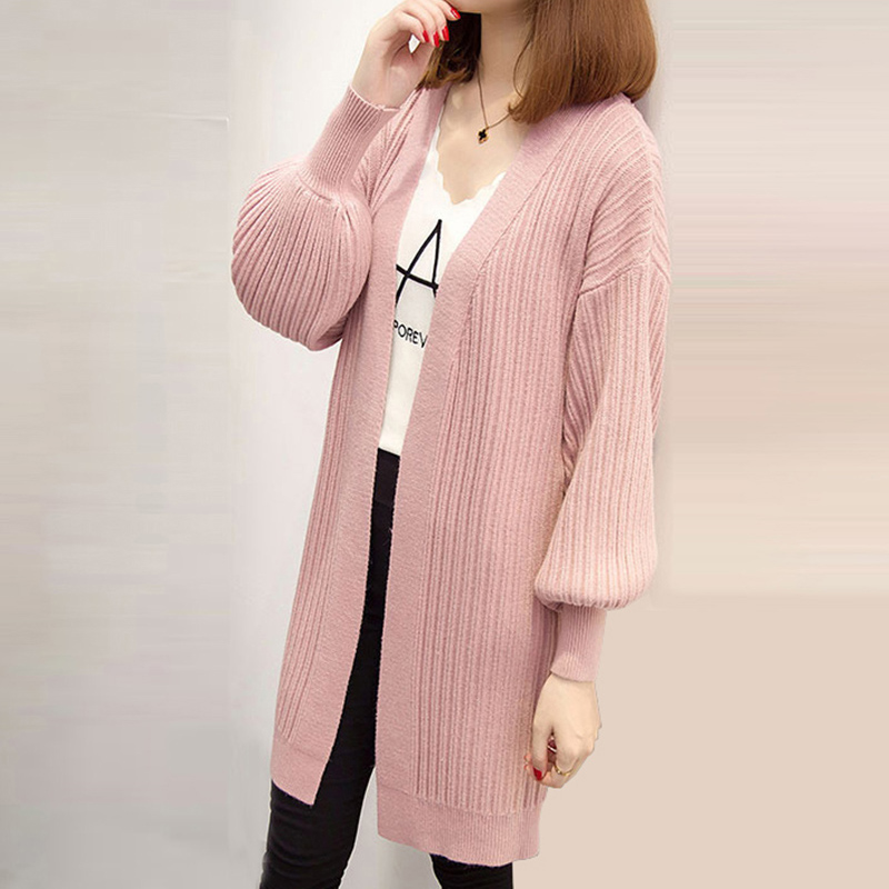 2018 Spring Autumn winter Knitted Sweater Cardigan Women winter Jackets Loose Long Sweaters coats Puff sleeve outerwear QH0635