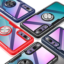 Luxury Clear Armor Phone Case For Huawei P20 Pro Transparent Magnetic Car Ring Holder Shockproof Cover lite