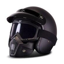 Nuevo Casco de la motocicleta Retro Vintage sintético Casco Moto Cruiser helicóptero Scooter Cafe Racer 3/4 abierto máscara DOT Casco Moto
