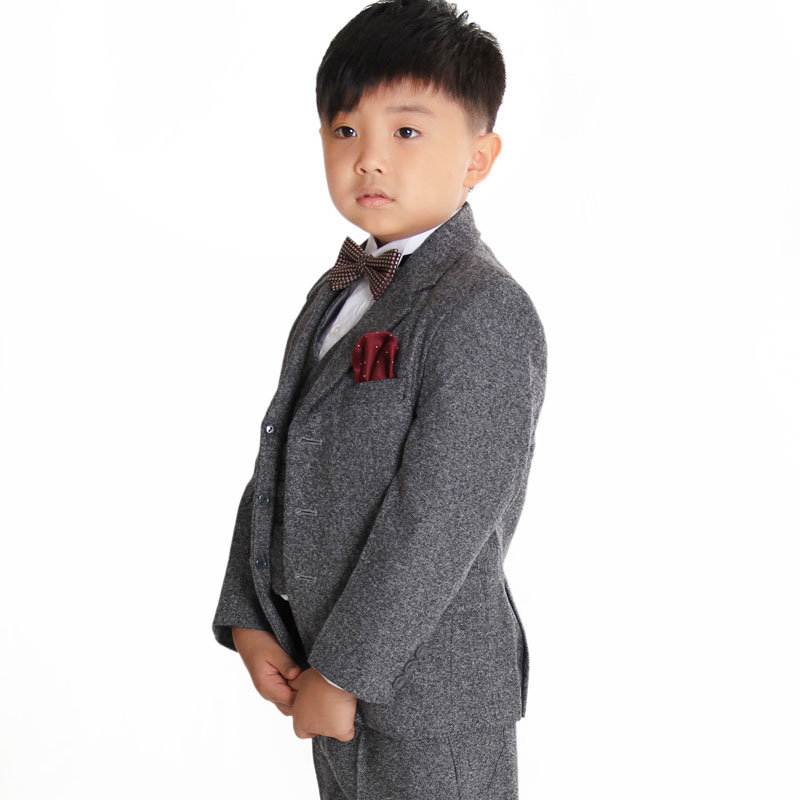 Boys Gray Casual Suit Set Jacket Vest Pants 3 Pieces