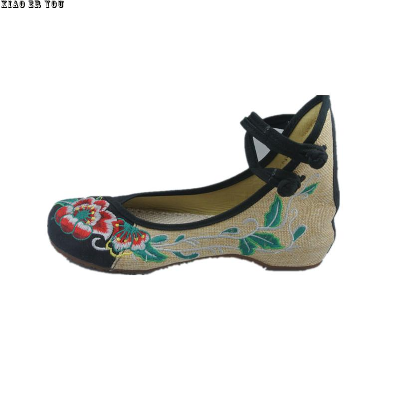2017 New Old Peking Shoes Women's mary jane Chinese Flat Heel Embroidery Shoes Comfortable Soft Canvas Shoes Plus Size 41 old beijing embroidered women shoes mary jane flat heel cloth chinese style casual loafers plus size shoes woman flower black