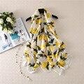 De alta calidad de la manera de las mujeres de seda de impresión bufanda popular fresh lemon patrón bufanda beach holiday travel chales foulard muselina