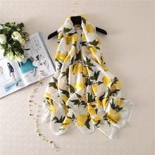High Quality Fashion Women Silk Printing Scarf Popular Fresh Lemon Pattern Scarf Beach Holiday Travel Shawls Foulard Mousseline
