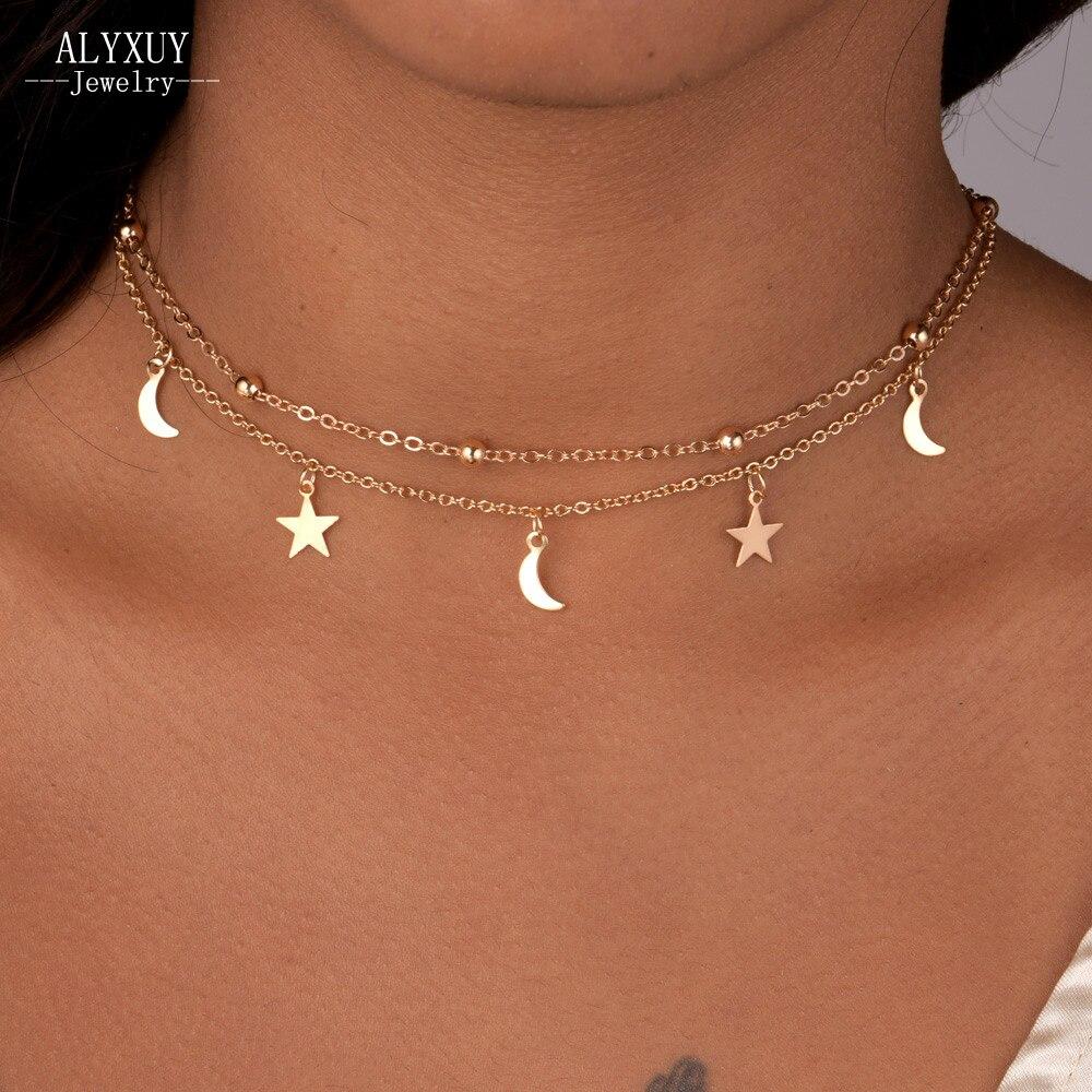 Новые ювелирные изделия 2 слоя Звезда Луна колье ожерелье хороший подарок для женщин девушки (заказ 3 предмета в комплекте есть скидка 15%) n2076