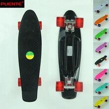"Black Wheel ABEC-7 Bearing Pastel Plastic 22"" x 6"" Complete Skateboard Mini Cruiser Longboard Boy Girl Street Skate Board"