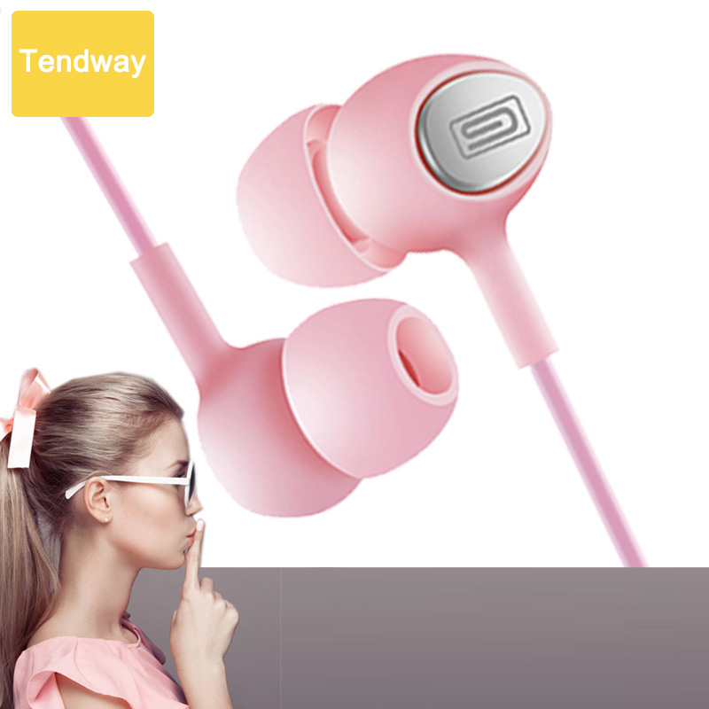 Girl's Pink Earphone With Microphone MIC Student Headset Noise Canceling for Xiaomi Iphone 7 Huawei fone de ouvido 2017 original xiaomi xiomi new basic version in ear piston 3 earphone with mic wire control headset for mi iphone fone de ouvido