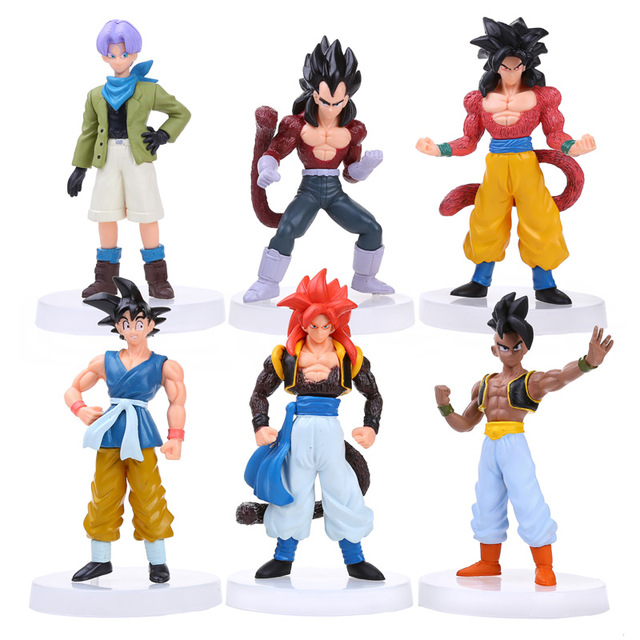 6pcs/set Dragon Ball Z Sun Goku Trunks Vegeta Ubu PVC Figures Toys DBFG006