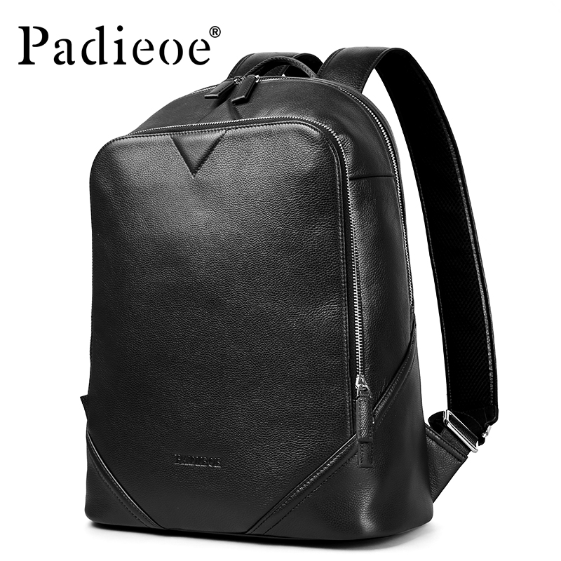 Padieoe Luxury Brand Women Leather Bagpack With Pockets High Quality Genuine Leather Men Women Backpacks Fashion School Bags