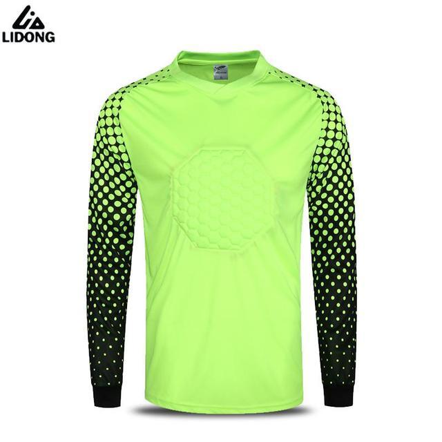 7e344e6cb1a Hot Sale Men s Soccer Goalkeeper Jerseys Football Goal Keeper Shirts  Doorkeepers Goalie Training Tops Padded Kits Uniforms