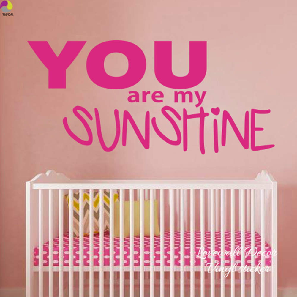 You Are My Sunshine Wall Sticker Baby Nursery Kids Room Cartoon Love Quote Wall  Decal Living Room Couple Vinyl Home Decor In Wall Stickers From Home ...