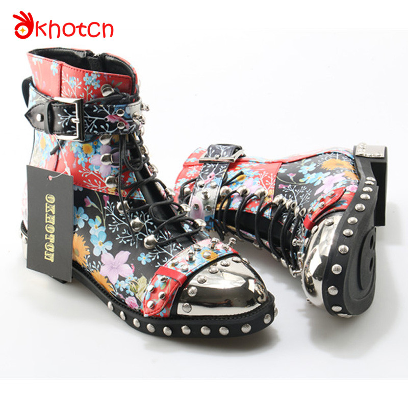 Okhotcn Luxury Brand Zapatos Mujer Casual Silver Buckle Studded Rivets Women Boots Metal Head Printed Floral Female Spikes Shoes idg brand women slip on high heels short rough with the fall and winter metal buckle rivets shoes woman zapatos mujer tacon