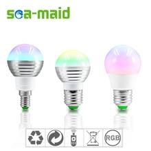 1Pcs E27 E14 LED RGB Bulb lamp 220V 5W LED RGB Spot light dimmable magic Holiday RGB lighting+IR Remote Control 16 colors