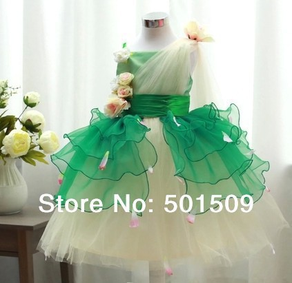 Free shipping children girl ruffled chiffon organza green flower dance dress studio stage performance beauty contest dress