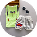 2016 Summer  baby boy kid clothing sets cotton sleeveless bows t-shirt+ stripe pants suit  Printed Clothes shorts sport suits