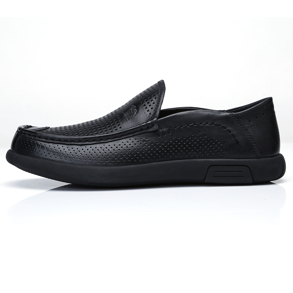 Pliable Hommes Respirant En Cuir Trous D'affaires Homme Vache Mocassins Chameau black Gray Appartements Véritable Souple Chaussures Conduite Mâle wYpEd1
