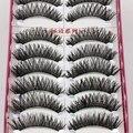 Nova Algodão Hastes Cílios Postiços Naturalmente Espessa Cruz Bagunçado Cílios Postiços Stagecraft Maquiagem Cílios 1 caixa de 10 pares