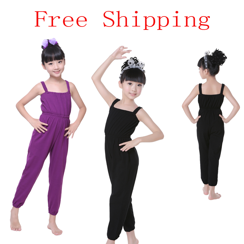 Free Shipping Purple Black Sleeveless Vest Kid Girl Ballet Leotard Children Gymnastics Leotard For Girls in Ballet from Novelty Special Use