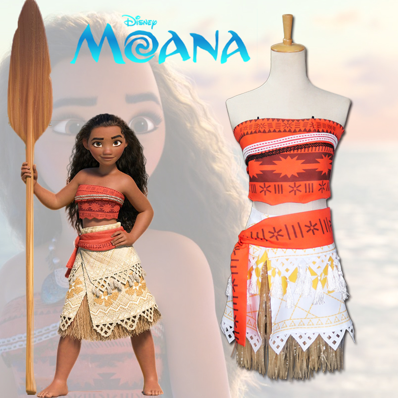 Hot sale Anime Moana Cosplay Costume Adults and Kids Apparel Anime Princess Top skirt waistband and necklace for Women and Girls