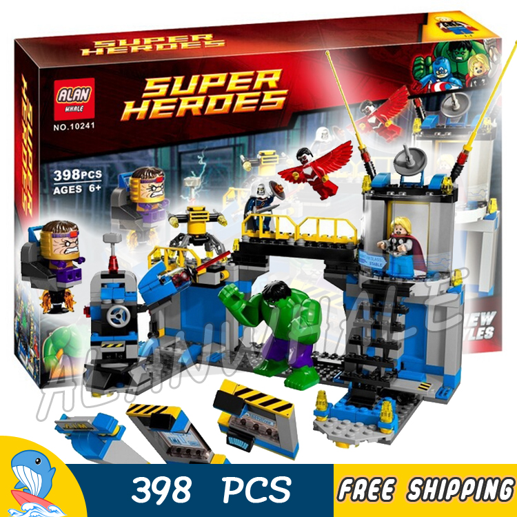 398pcs Super heroes Avengers Hulk Lab Smash Underground 10241 Model Building Blocks Assemble Boy Toy Bricks Compatible with Lego bela 10241 super heroes avengers hulk lab smash set with taskmaster falcon hulk thor turret robot modok action figure toys