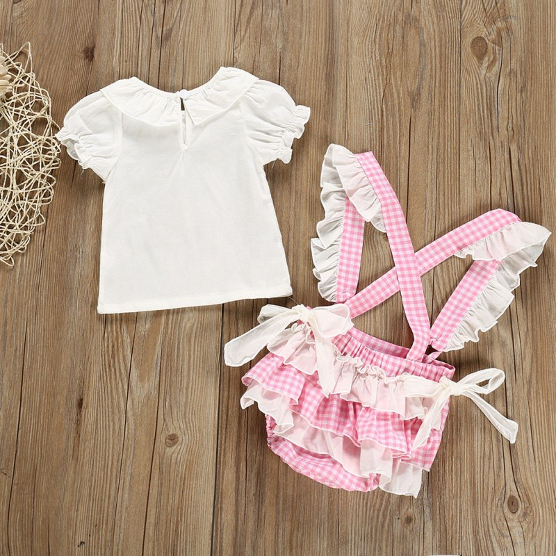 Newborn Baby Girl Clothes Summer Baby Girl Cute Short Sleeve Top And Plaid Print Shorts Kit Kid Two piece Outfit Set in Clothing Sets from Mother Kids