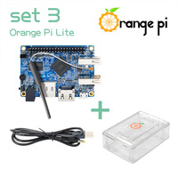 Orange Pi Lite Set3:  OPi Lite + Transparent ABS Case+ USB to DC 4.0MM - 1.7MM Power Cable Support Android, Ubuntu, Debian