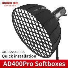 Godox 65cm 85cm AD-S65S AD-S85S wewnątrz srebrny głęboki paraboliczny Softbox z siatką o strukturze plastra miodu Godox Mount Softbox dla AD400PRO