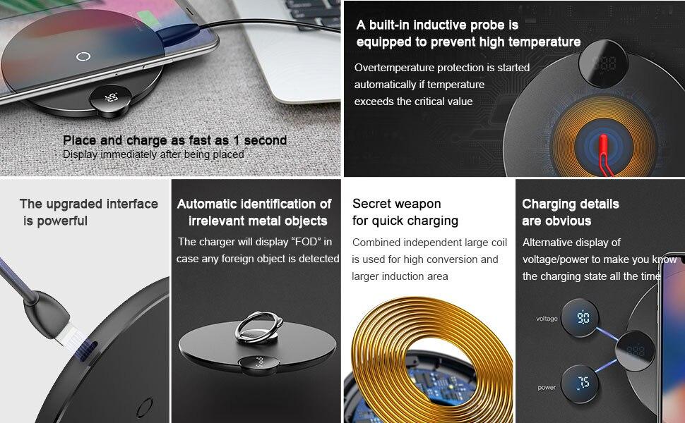 Baseus светодиодный дисплей Qi Беспроводное зарядное устройство для iPhone 11 Pro Max Xr X 10 Вт USB быстрая Беспроводная зарядка для Xiaomi Mix 3 samsung S9