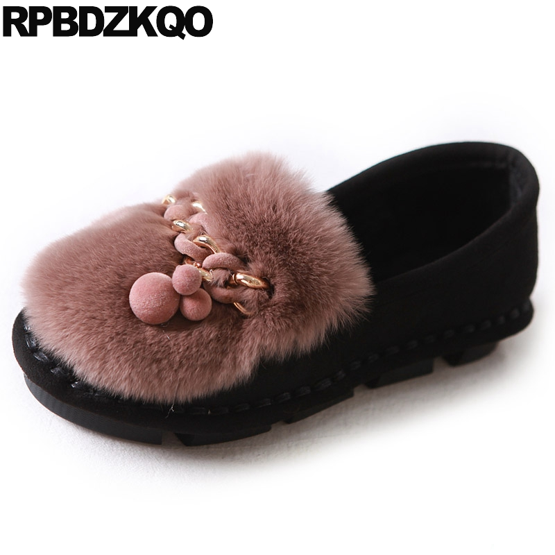 Black Metal Ladies Moccasins Fur Flats Women Rabbit Beautiful Shoes Suede Slip On Kawaii Round Toe Spring Autumn Fashion beyarne spring summer women moccasins slip on women flats vintage shoes large size womens shoes flat pointed toe ladies shoes