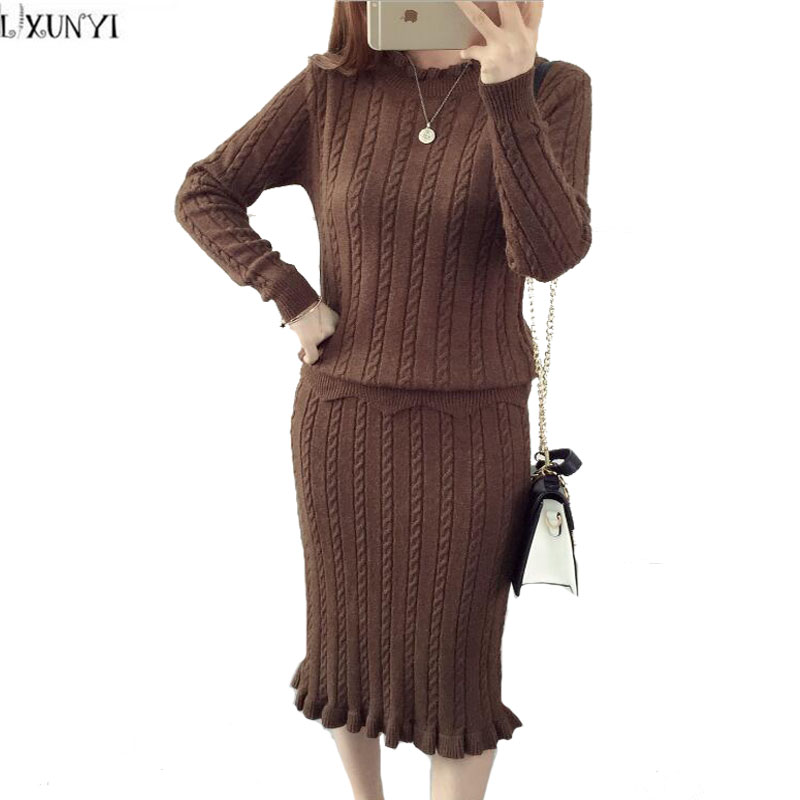 LXUNYI Fashion Ladies Knitted Skirt Sets Autumn Solid Long Sleeve Sweater Two Piece Set Women Fashionable Women's Suits 2019