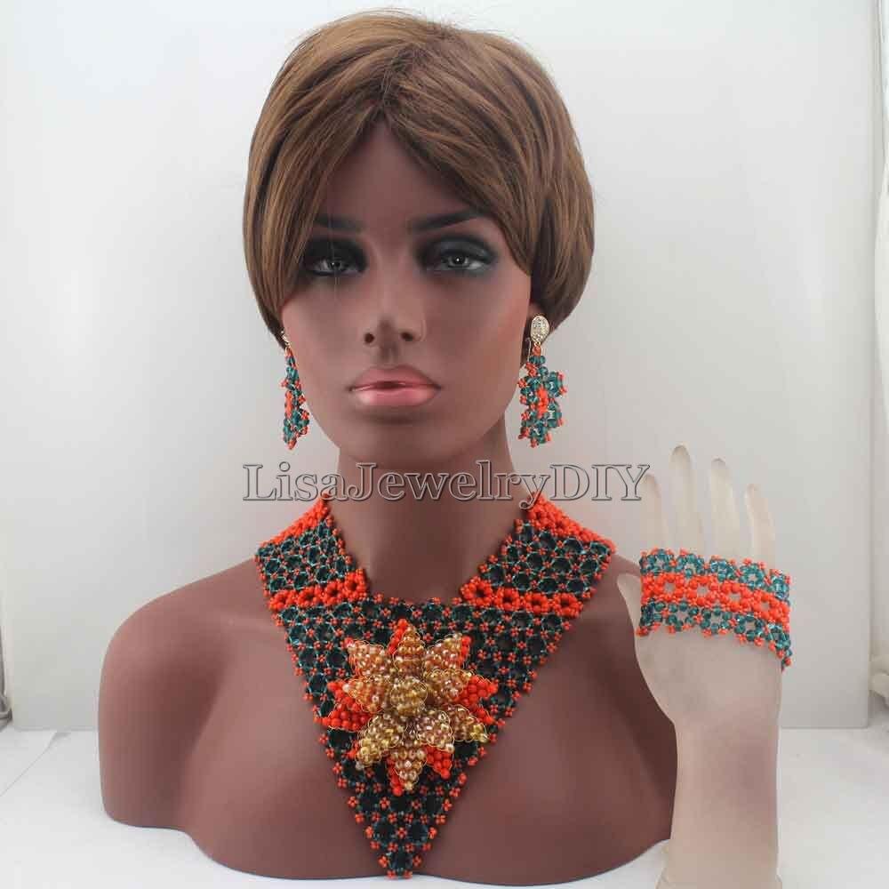 Fashion Chunky Bib African Wedding Jewelry Sets Nigerian Green/Coral Crystal Beads Wedding  Jewelry Set Free Shipping HD8190Fashion Chunky Bib African Wedding Jewelry Sets Nigerian Green/Coral Crystal Beads Wedding  Jewelry Set Free Shipping HD8190