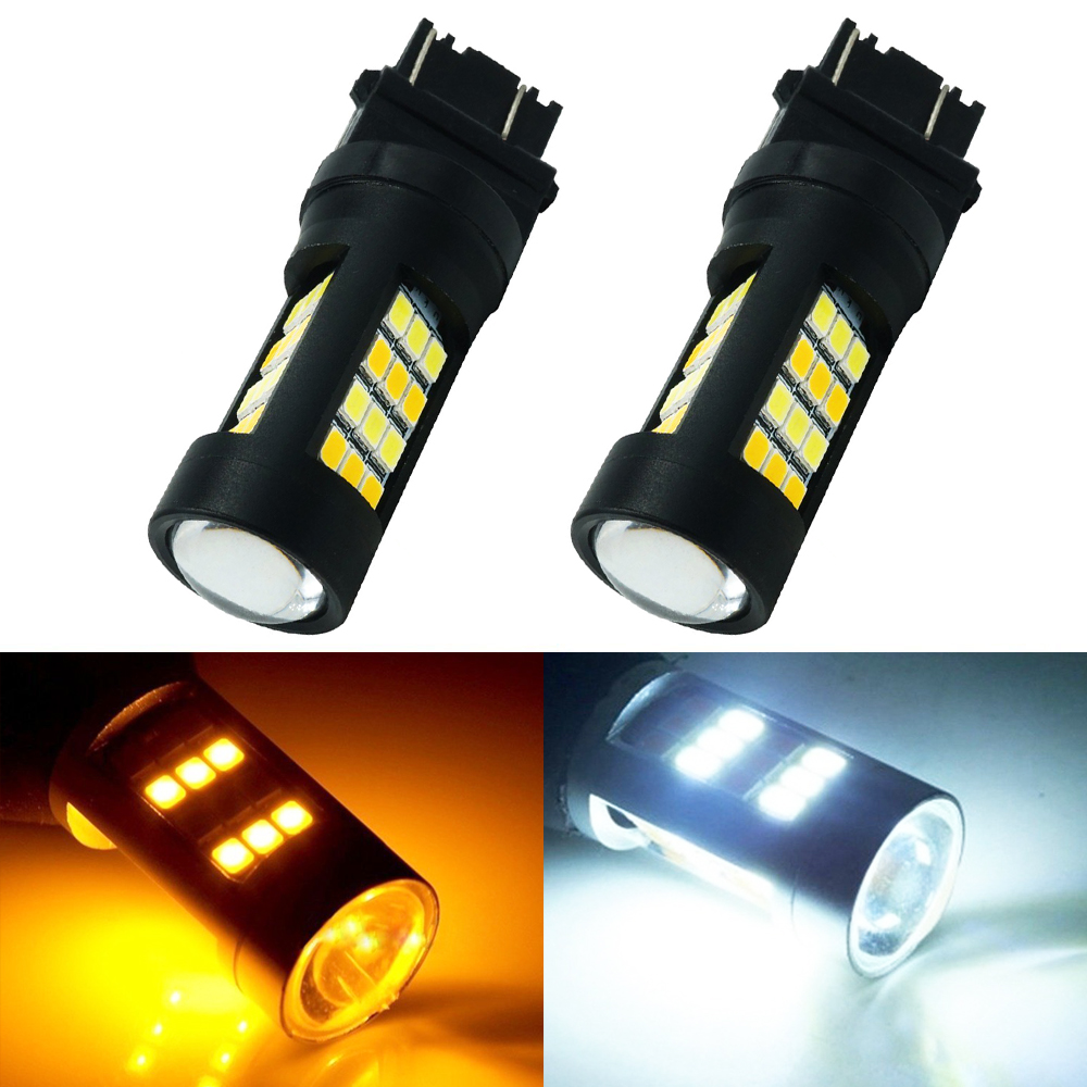 2PCS Super Bright 3157 7443 2835 42 SMD LED Dual Color White/Amber Switchback Turn Signal LED Light Bulbs 12V LED Brake Light 2x dual color switchback 3157 20 smd 5730 led bulbs turn signal light high power