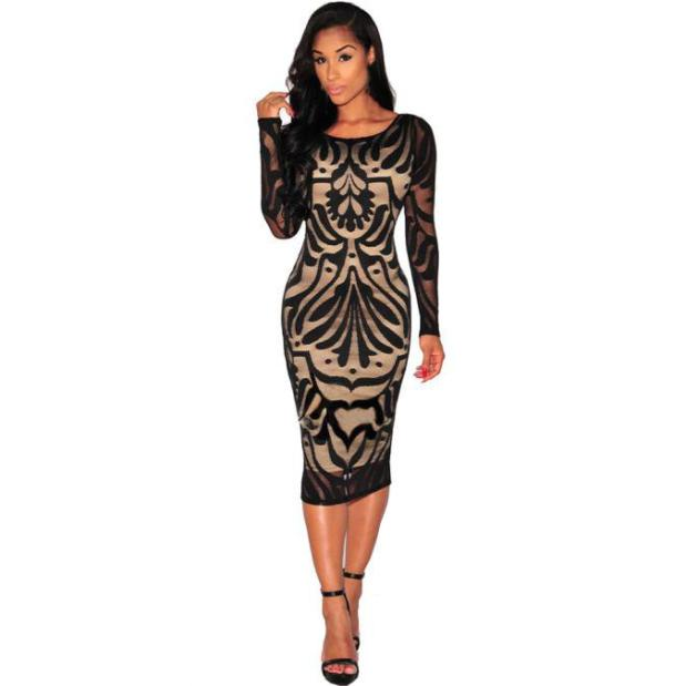 Free Ostrich Black Women Sexy Bodycon Bandage Evening Party Long Sleeve Lace Dress Vestidos Cortos De Verano Lace Dresses D0335